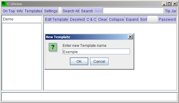 Screen shots showing how to enter template name