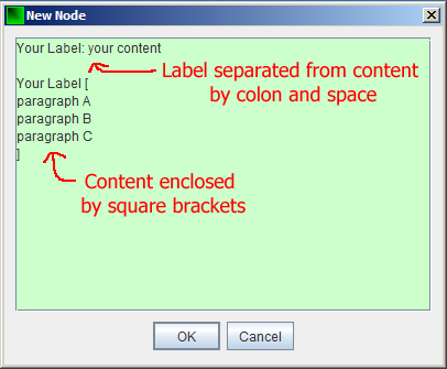 New Node window showing labels and content
