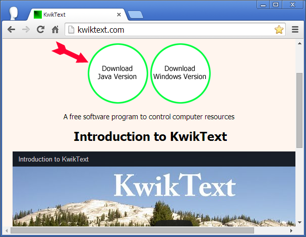 Screen shot showing how download Java version