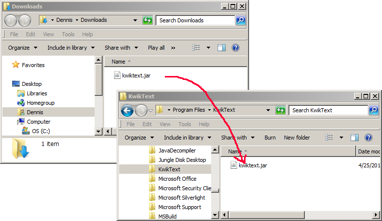 Screen shots showing how to copy KwikText to Program Files folder