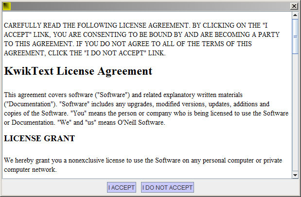 KwikText license agreement screen