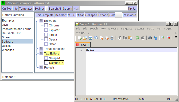KwikText showing software programs, Notepad++ selected and displayed