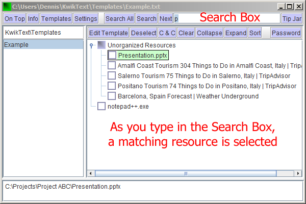 Screen shot showing Search Box and selected resource