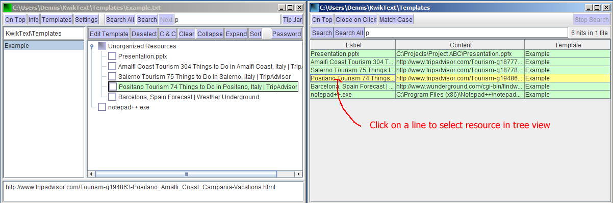 Screen shots showing Search window table and selected resource in tree view