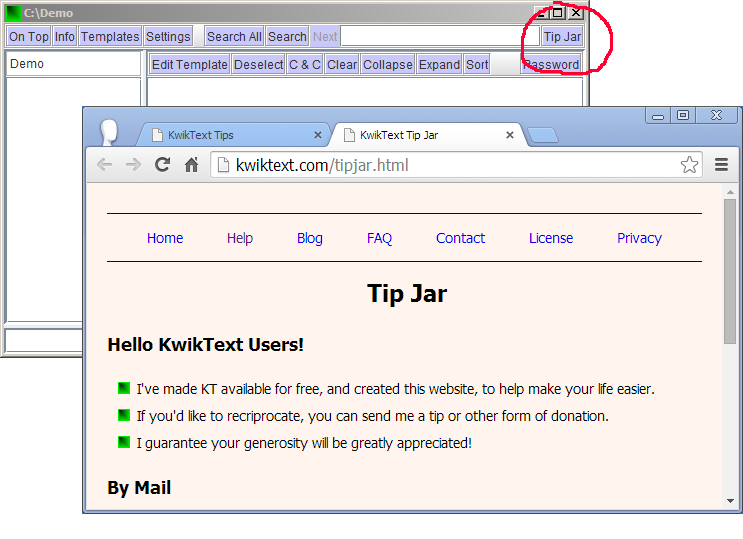 KwikText screen showing Tip Jar button, and Tip Jar web page